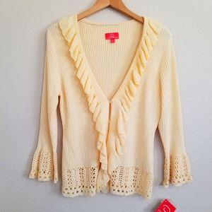 NWT Oscar De La Renta Co Ruffle Knitted Cardigan